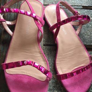 Stuart Weitzman pink gem and suede sandals.